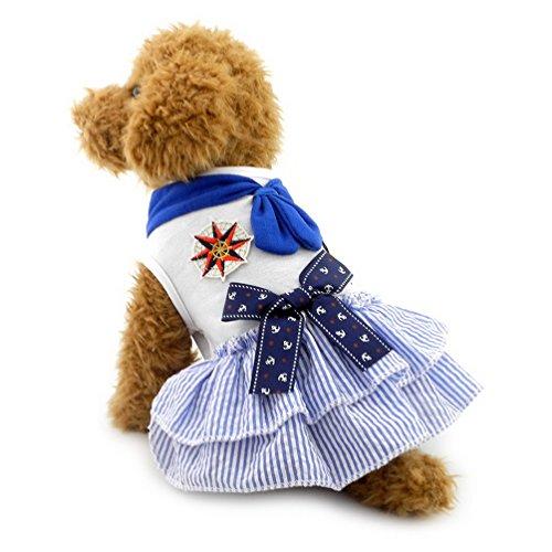 selmai Stripe Small Hund Sailor Kleid Schleife abgestuftes Puppy Katze Hund Sommer Rock Kleidung Bekleidung (Billig Kleid Fancy Halloween)