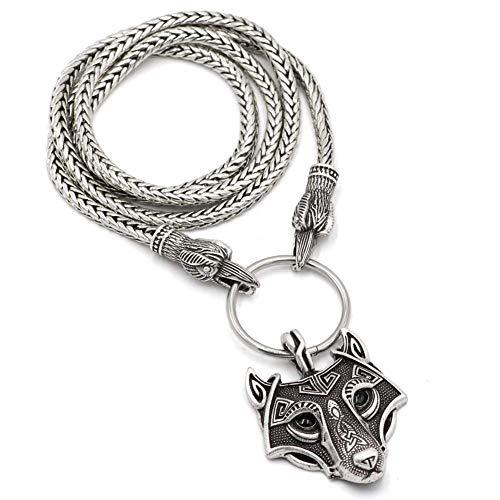 Nordic Odin Wolfskopf Anhänger Halskette-Celtic Edelstahl Crow Head Kette Zubehör, Herren Retro Style Religion Raven Talisman, Pagan Schmuck Amulett,50cm (Head Kette Schmuck)