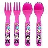 U.P.D. Inc Disney Minnie Mouse Bow-Tique 4-Piece Flatware Set (2 forks and 2 Spoons)