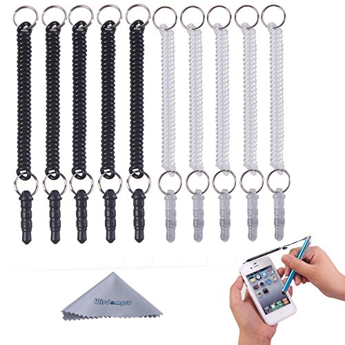 stylus-tether-wisdompror-10pcs-pack-of-detachable-elastic-coil-tether-strings-lanyards-with-35mm-ear