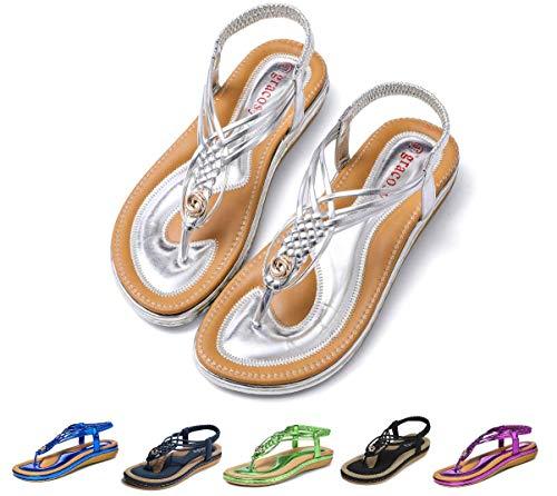 Gracosy Sandales Plates Femmes, Chaussures de Ville Été à...