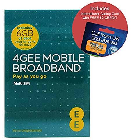 EE 4G 6GB PAYG Trio Data SIM - Mobile Broadband -6GB + FREE International Calling Card - (RETAIL