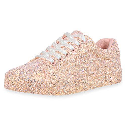 SCARPE VITA Damen Sneaker Low Glitzer Freizeitschuhe Schnürer Turnschuhe Low Top Schuhe Schnürschuhe 182981 Apricot 38