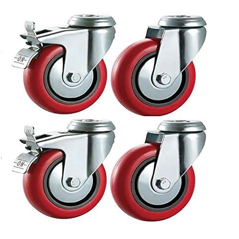 75mm de polyuréthane Roulettes pivotantes avec freins (Rouge)?Heavy Duty PU?Meubles, Appliance et roues d'équipement en Bulldog Roulettes?Max 280kg par lot de...