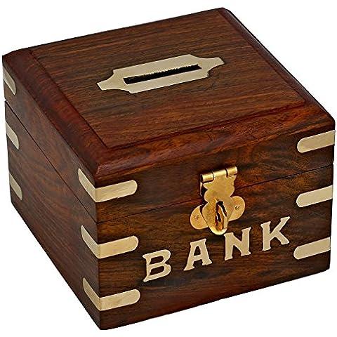 Casera caja de dinero indio - dinero caja de ahorros en el banco seguro de talla de madera - hucha única cosecha -10.2 x 12,7 x 12,7 cm