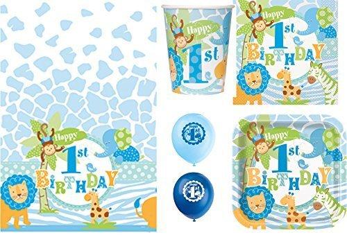 Blue Safari - Jungen 1ter Geburtstag Party Packung 16 Servietten Teller Becher Tischdecke Ballons - Blau, 1 Stück Packung