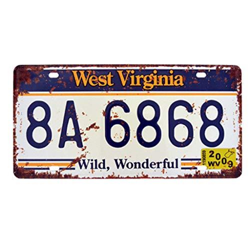 Eureya WEST VIRGINIA 8A-6868 Auto License Plate Car Tag Home/Cafe Bar/Pub/Restaurant/Exhibition Wall Decor Vintage Plaque 6