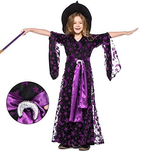 GLXQIJ Kinder Mädchen Halloween Hexe Star Moon Muster Mesh Material Kostümparty Kostüm, Kleid & Hut, 4-7 Jahre,Purple,S (Star Feuer Kostüm)
