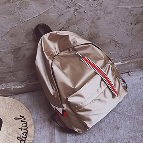 Longra Unisex Solid Color Nylon impermeabilizza la banda impermeabile Hanging Backpack Satchels Cachi