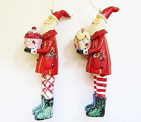 Gisela Graham Weihnachtsbaumschmuck, Motiv Weihnachtsmann Und Cupcakes WEIHNACHTS-Hänger, 2 Stück (Designer Christmas Tree Topper)