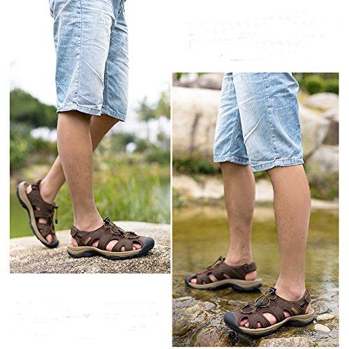 Breathable Geschlossen Leder Strand Trekking Sandalen Wasserfest Outdoor Schuhe Wanderschuhe Jungen Herren Deep Braun