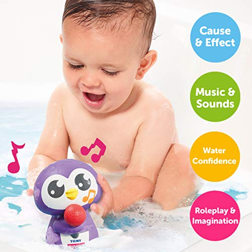 TOMY - Jouet de Bain Mon Pingouin Chanteur Violet E72724, Jouet Sonore Bébé Résistant à L'eau, Jeu pour Bain et Piscine, Jouet Éveil pour Bébé de 12mois+