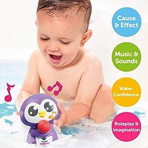 Toomies E72724C Tomy Chirriador de Tiempo de pingüino sin sintonización, Juego de Agua Musical para baño, Juguete sensorial para bebés para niños y niñas, Apto a Partir de 12 Meses, Multicolor