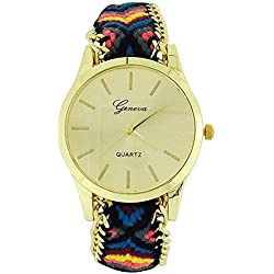 The Olivia Collection Ladies Pull Tie Closure Blac Multicolour Woven Strap Watch