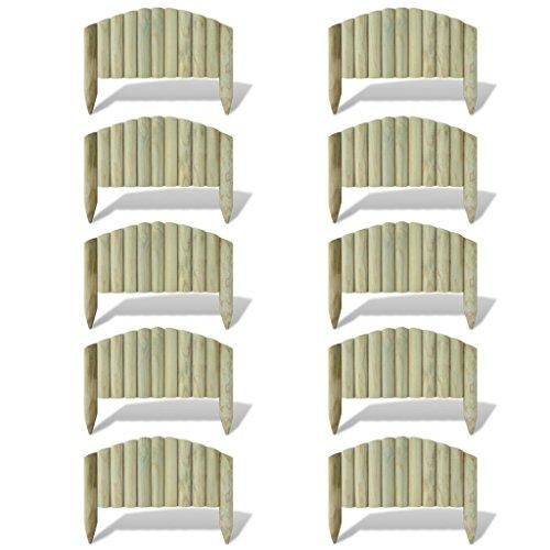 Festnight Holzscheite Bogen Rasenkanten Rasenabgrenzung aus Kiefernholz 55 cm (10 Stück)