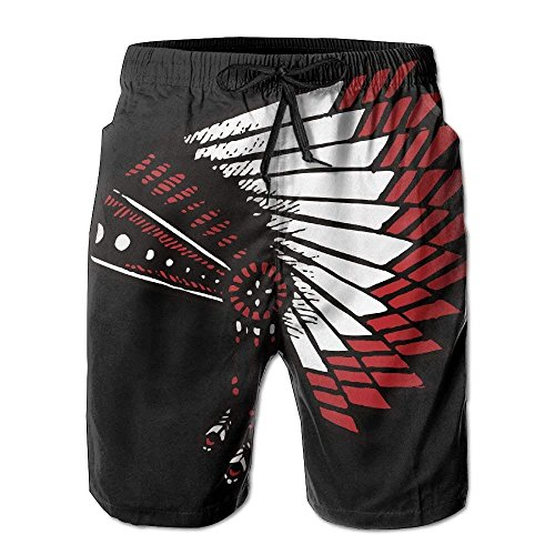 WTZYXS American Indian War Bonnet Men's/Boys Casual Shorts Swim Trunks Swimwear Elastic Waist Beach Pants with Pockets XL -