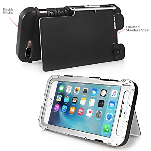 Alienwork Metal Gear Custodia per iPhone 6 Plus/6s Plus antiurto Cover Case Bumper Supporto Acciaio inossidabile argento AP6P12-02 argento