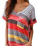 Yidarton Damen Tops Sommer Buntes Gestreiftes Loose Kurzarm V-Ausschnitt Shirt Hemd Bluse T-Shirt (XL/ EU 42-44, Rot)