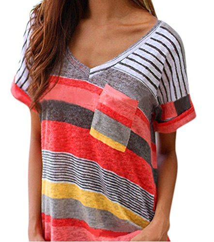 Yidarton Damen Tops Sommer Buntes Gestreiftes Loose Kurzarm V-Ausschnitt Shirt Hemd Bluse T-Shirt (L/ EU 40-42, Rot)