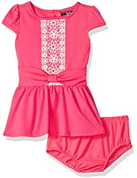 Kensie Baby Girls' Knit Dress with Lace Crochet Trim