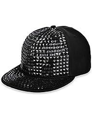 Rock Punk snapback-jltph Pyramid de plástico Studs Bling plano hip hop gorra de béisbol gorro Remaches de pinchos Rivet Negro negro
