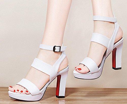 Estate moda donna sandali comodi tacchi alti,36 grigio chiaro White