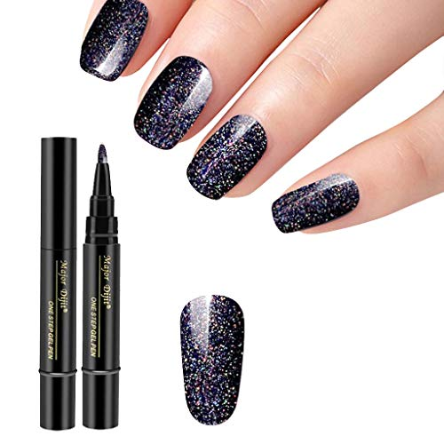 Goosuny Nagellack Gel Stift, 3-In-1 Pen Nail Art Nagelgel Pen Lack Lackieren 18 Farben Nageldesign Stift Diy Glitter Nail Art Pen Uv Gel Nail Polish Pens