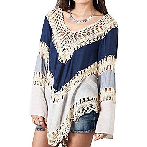 Damen Der Großen Yards LangarmLose Bluse Strand Sonne Pullover T-shirt Blusenbody Oberteile Oberteil Pulli Blau