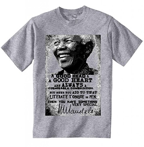 Teesquare1st Men's NELSON MANDELA A GOOD HEAD QUOTE Grey Tshirt XXXLarge Size
