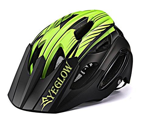 EyeGlow Casco Mountain Bike Casco bici da bicicletta Sport Casco protettivo 18 Vents Casco leggero e traspirante Casco per adulti Uomini / Donne Taglia regolabile 54-58MM (nero verde)
