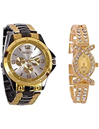 Rosra Stainless Steel Analog Couple Watchs Analog Watch - For Couple