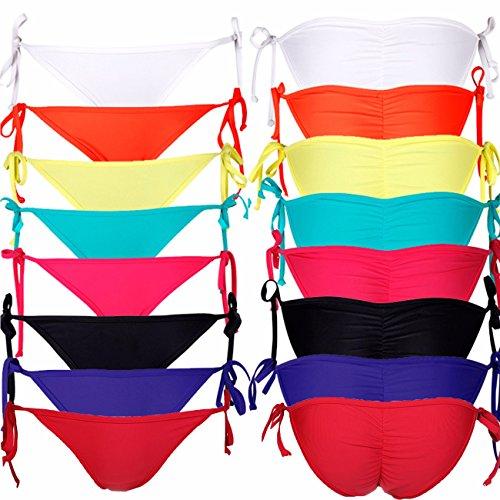 Damen Sexy Bikinihose Cheeky String Side Tie Bikini Comfort Bottom S M L XL Bikini-Unterteil Badeshorts für Frauen---CROSS1946 Weiß