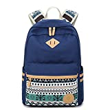 Canvas School Backpack, Fresion School Bags Lightweight Rucksack Vintage Bookbag with Laptop Compartment for Teen Girls Boys (Blue)