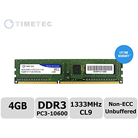 Timetec® (P/N 75tt133u1r8 - 4 G) 4 GB Single Rank 1333 mhz DDR3 (PC3 - 10600) Non-ECC sin búfer, CL9, 240-pin UDIMM 1Rx8 512 x 8 1,5 V computadora de escritorio PC memoria RAM actualización de Memoria (4GB)