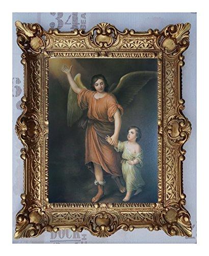 Bild Bilder Gemälde mit Ornamentverziehrungen in den Rahmen montiert 56x46 cmReligiös Mutter Maria Gottes Maria Jesus Christus Kruzifix Engel Repro Antik Wandbilder Religion - moderne Wanddekorationen (M51-K26)