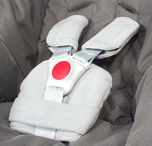 ByBoom - Gurtpolster Set - universal für Babyschale, Buggy, Kinderwagen, Autositz (z.B. Maxi Cosi City SPS, Cabrio, Cybex Aton usw.); In vielen Farben; MADE IN EU, Farbe:Grau