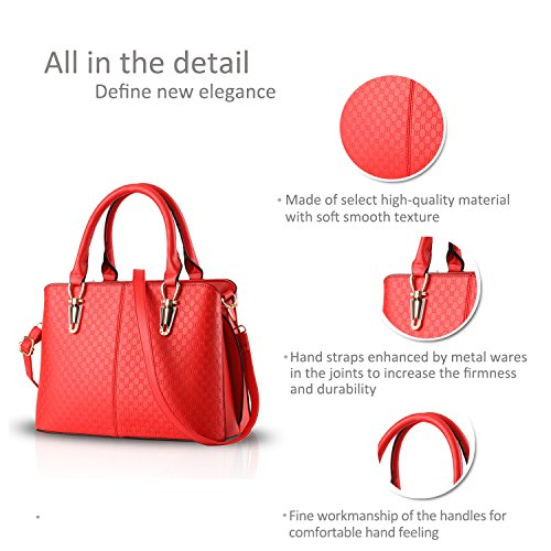 NICOLE&DORIS tendenza della borsa di modo femminile grande borsa retrò borse sacchetto di spalla casuale borsa Messenger per le donne(Rose�?Red