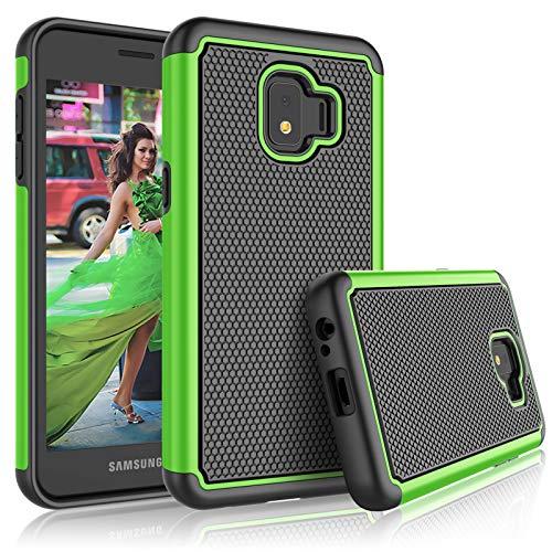 Schutzhülle für Galaxy J2 Core Samsung J2 Dash / J2 Pure / J260 für Mädchen, Tekcoo [Tmajor] Stoßdämpfendes Gummi-Silikon & Kunststoff Kratzfest Bumper Griff niedliche stabile Hartschale, grün T-mobile Dash-serie