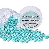 Benecreat 150 Stück Umweltschutz Gefärbt Glas Perlen Runde Blau