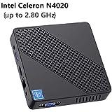 Mini PC Fanless Intel Celeron N4020 (up to 2.8GHz) 4GB DDR/64GB eMMC Mini Desktop Computer Windows 10 Pro HDMI and VGA Port 2