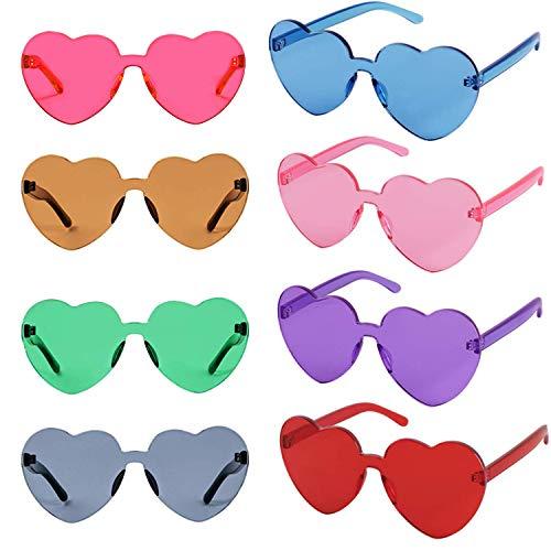 FSMILING Bunte Transparent Herz EIN Stück Randlose Party Sonnenbrille für Damen Herren Kinder 8 Stück
