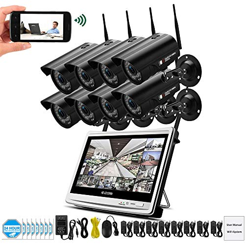 1080P 2MP Video Surveillance Kit Wireless LCD NVR Security Camera System Outdoor IP Camara WiFi CCTV Set HD P2P-2/4/6/8CH,8CH Lcd-dvr Security System