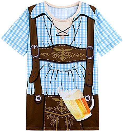 COSAVOROCK Herren Bayerische Oktoberfest Kostüm T-Shirts (L, Blau)