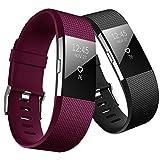 Yometome Fitbit Charge 2 Armband Original, Weiche TPE Uhrenarmband für Sport und Ersatz Klassisch Armband für Fitbit Charge2