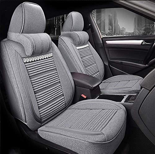 Tcbz Coprisedile per Auto Super Traspirante in Lino - Cuscino Regolabile per Audi Jeep Ford Mercedes Benz e 99% Altri Tipi, Marrone,Grigio