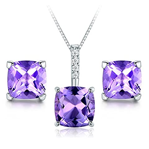 JiangXin Solitaire Natural Amethyst Gemstone Jewellery Set,925 Sterling Silver Earring Studs Pendant Necklace for Women February