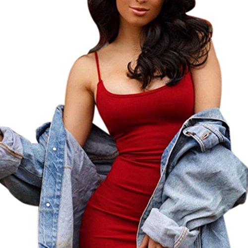 men Sommerkleid solide Rock Mädchen Reizvolle Kleider Frauen Mode Ärmellos Kleid Hüfte Minikleid Kleidung Abendkleider Partykleid Hemdkleid Blusekleid Sweatshirt (S, Rot) (Günstige Mädchen Kleider)