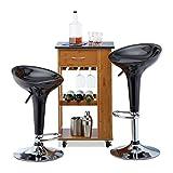 Relaxdays Barhocker 2er Set, höhenverstellbar, drehbar, bis 120 kg, mit Lehne, Barstuhl, HxBxT: 88 x 44 x 40 cm, schwarz