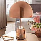 WOHNLING Design Tischleuchte OHRI Metallschirm-Lampe dimmbar Nachttischlampe Kupfer | Metalllampe E27 bis 60W | Leselampe 1-flammig 28 cm | Tischlampe hochglanz