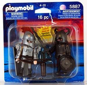 PLAYMOBIL DUO LOT de 2 chevalier en armure argenté  blister USA 5887 MOYEN AGE CHATEAU